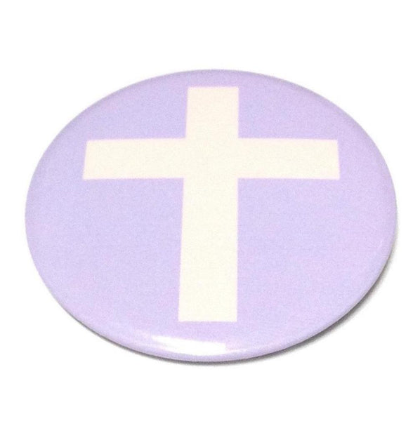 Cross Round Badge in Lavender x Pink