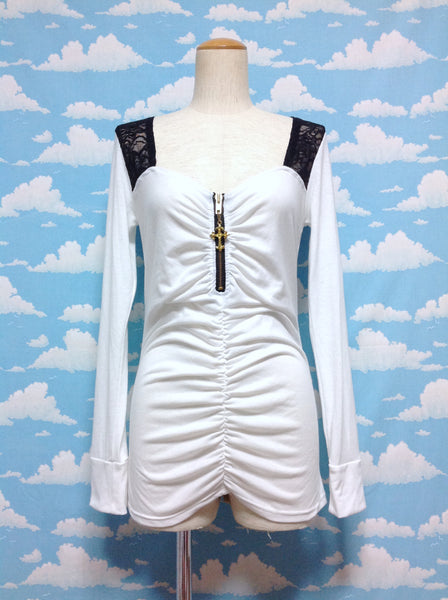 Cross Zipper Cutsew in White