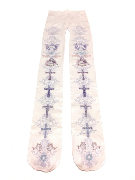 Cross and Emblem Tights in Light Beige