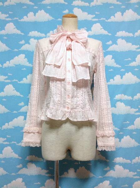 Cut Voile Double Bowtie Blouse in Pink from Angelic Pretty
