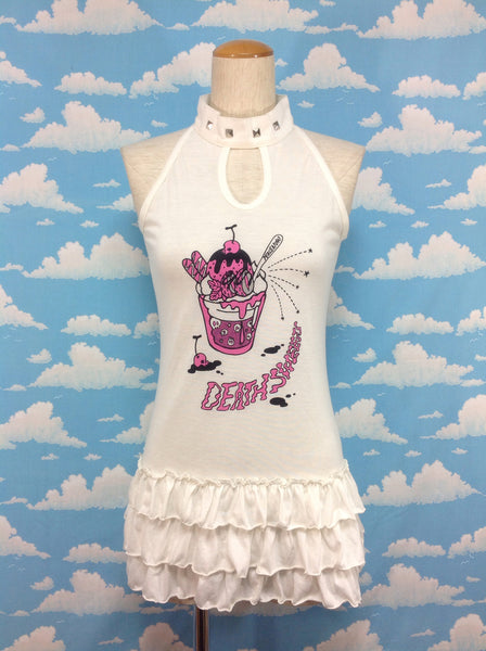 Death Sweets High Neck Cutsew in Ivory from Peace Now