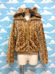 Deer Pattern Bear Hooded Parka Jacket with Bow in Beige from SWIMMER