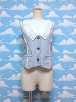 Detachable Lace Collar Stripe Vest in Navy x White from Axes Femme