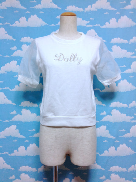 [Dolly] Chiffon Sleeve Cutsew in White from Browny
