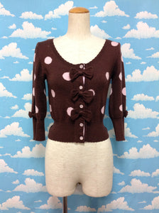 Dot 3/4 Sleeve Knit Cardigan in Brown from Angelic Pretty