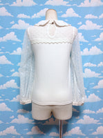 Dot Long Sleeve Lace Cutsew in Light Ivory from Liz Lisa