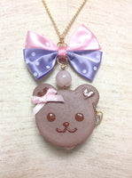 Dot Ribbon Bear Cookie Necklace with Cream in Brown from Melon Whip