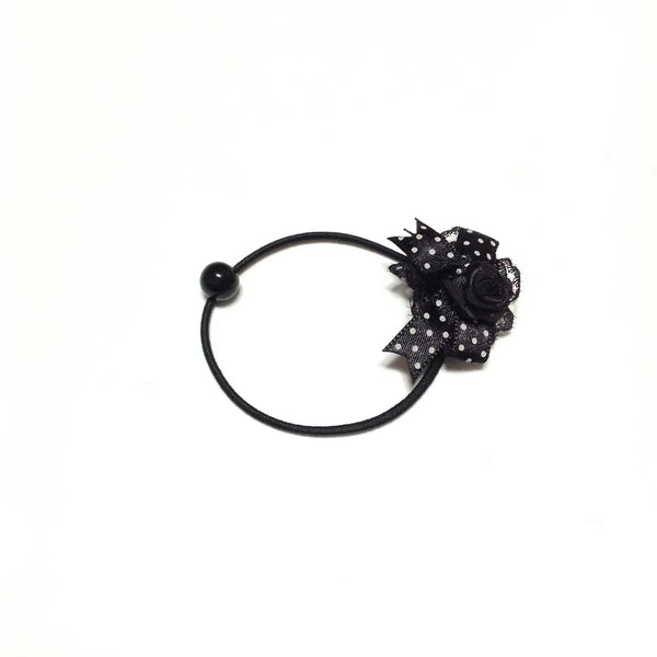 Dot Ribbon Bow Rose Hair Elastic in Black