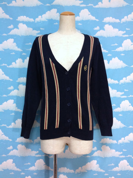 Emblem Regimental Cardigan in Navy from F.i.n.t