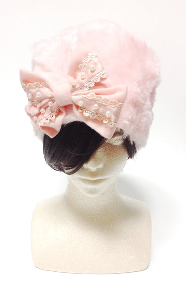 Fake Fur Hat with Detachable Bow in Pink from SWIMMER