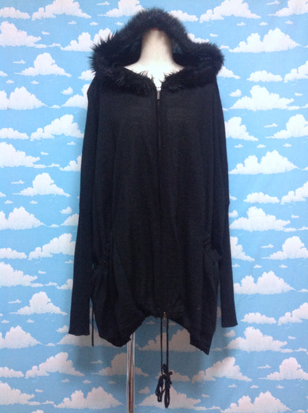 Fake Fur Hood Cardigan in Black from Black Peace Now (for Men)