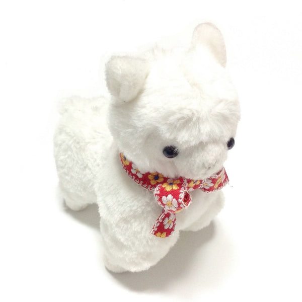 Floral Neck Ribbon ArPakasso (Alpaca) in White x Red from Amuse