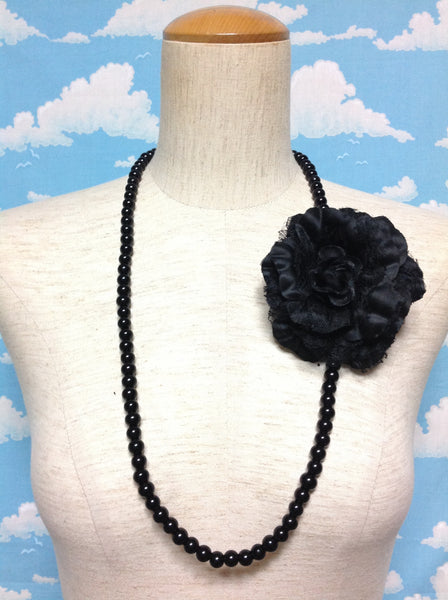 Flower Brooch Pearl Necklace in Black from Paris Kid's