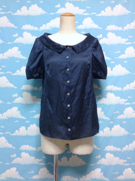 Flower Button Stripe Blouse in Navy