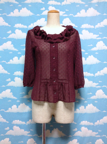 Flower Dot Blouse in Wine from Emily Temple Cute