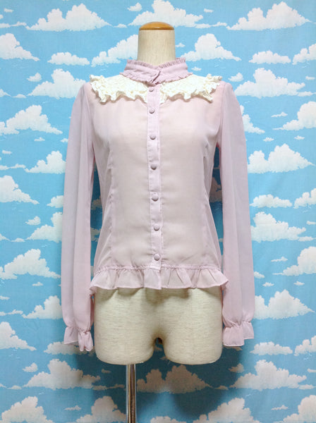 Flower Lace High Collar Blouse in Light Lavender from Ank Rouge