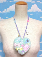 Fluffy Heart Baby Necklace in Mint x Lavender