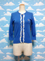 Frill Decoration Crown Logo Cardigan in Blue from Jane Marple