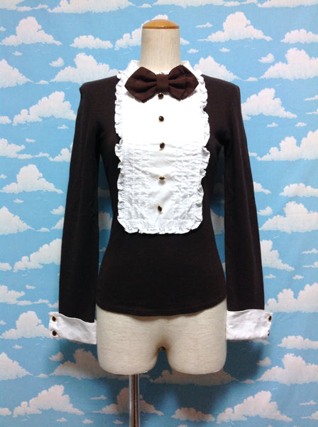 Frill Tuxedo Cutsew in Brown from Angelic Pretty