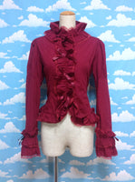Frill and Bow Long Sleeved Blouse in Wine from Metamorphose temps de Fille