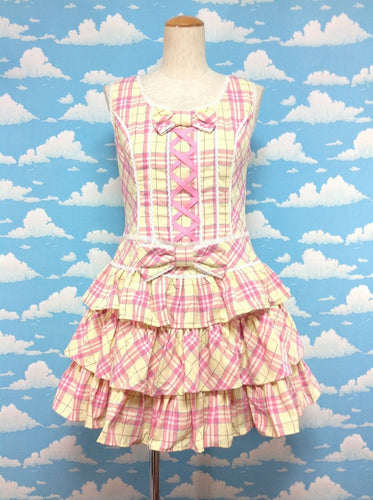 Meringue Tartan 3 Stage Frill JSK in Yellow from Angelic Pretty