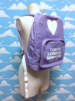 [TOKYO, LONDON, NEW YORK, PARIS] Heart Backpack in Purple from BROWNY