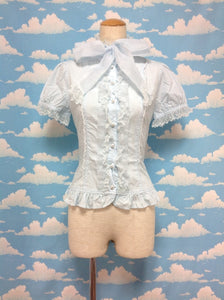 Organdy Bow Tie Blouse in Sax from Angelic Pretty