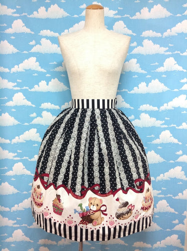 Sweets Teddy Bear Skirt in Black from Innocent World