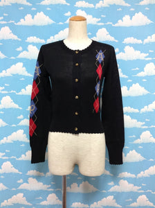 Classic Argyle Knit Cardigan in Black from Angelic Pretty