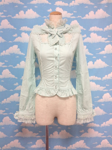 Classical Ribbon Ribbon Blouse in Mint from Angelic Pretty