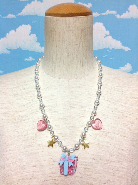 Gift Box Necklace in Sax from Angelic Pretty
