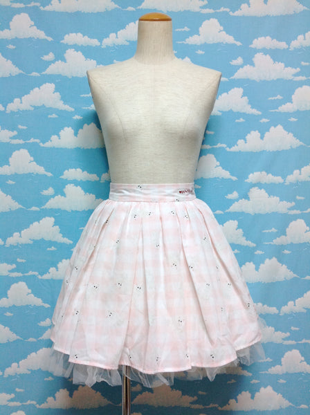 Gingham Cat Skirt in Pink x White from Ank Rouge