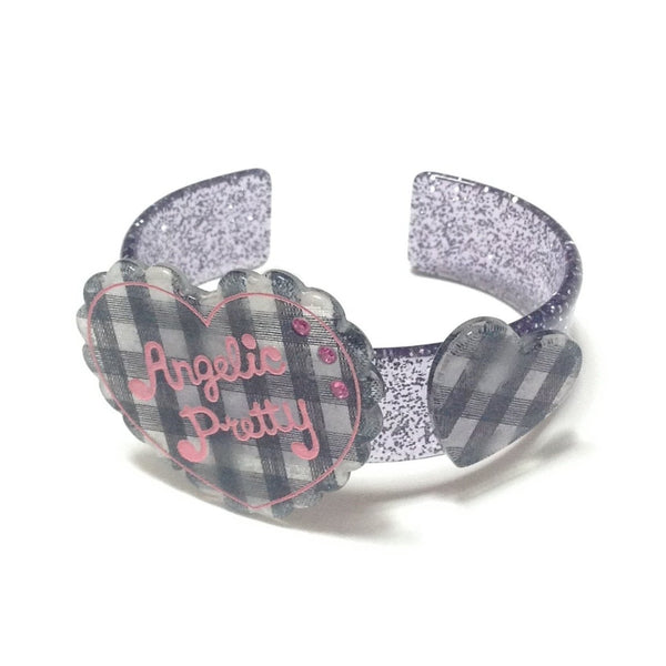Gingham Love Heart Bangle in Black from Angelic Pretty