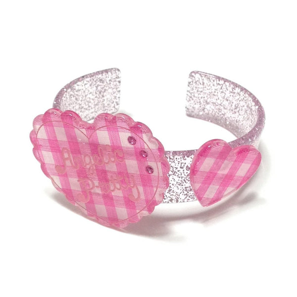 Gingham Love Heart Bangle in Pink from Angelic Pretty