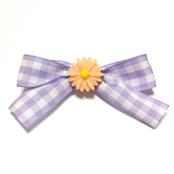 Gingham Margueritte Barrette in Lavender