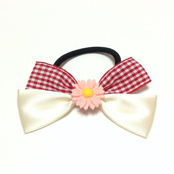 Gingham Mix Flower Hair Tie in Red x White