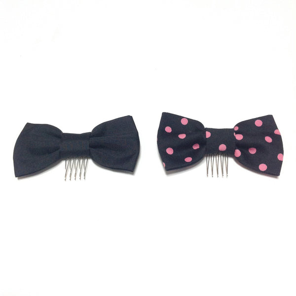 Girly Dot Ribbon Comb in Black from Angelic Pretty