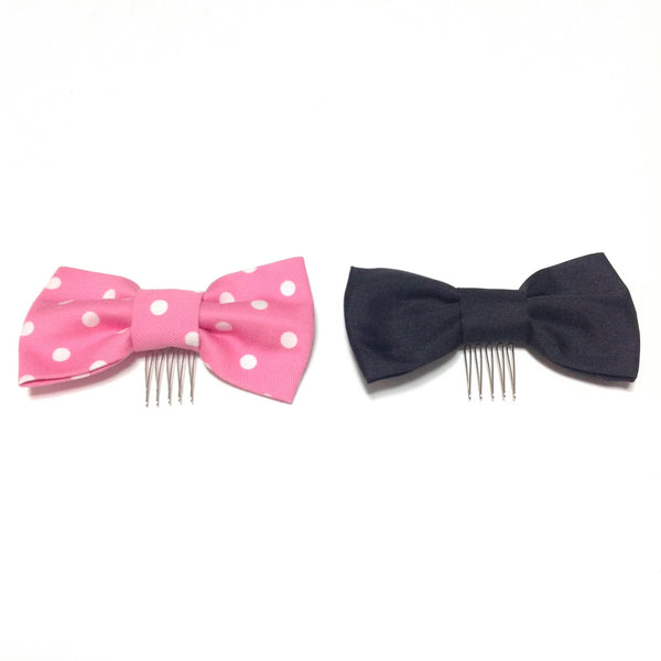 Girly Dot Ribbon Comb in Dark Pink from Angelic Pretty