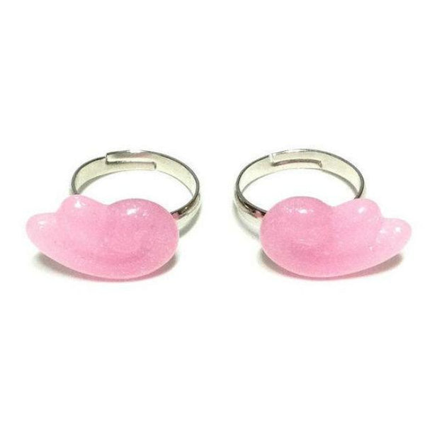 Glitter Chubby Gummy Wings Ring Set in Pink from Pastel Skies