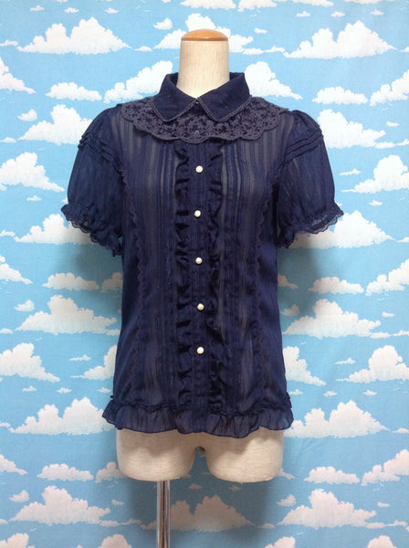 Glitter Thread Ruffle Blouse in Navy from Axes Femme