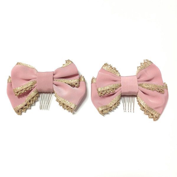 Gold Line Grosgrain Ribbon Comb in Pink from Angelic Pretty (C)