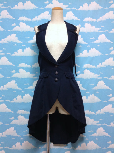 Halter Long Vest in Navy from Axes Femme