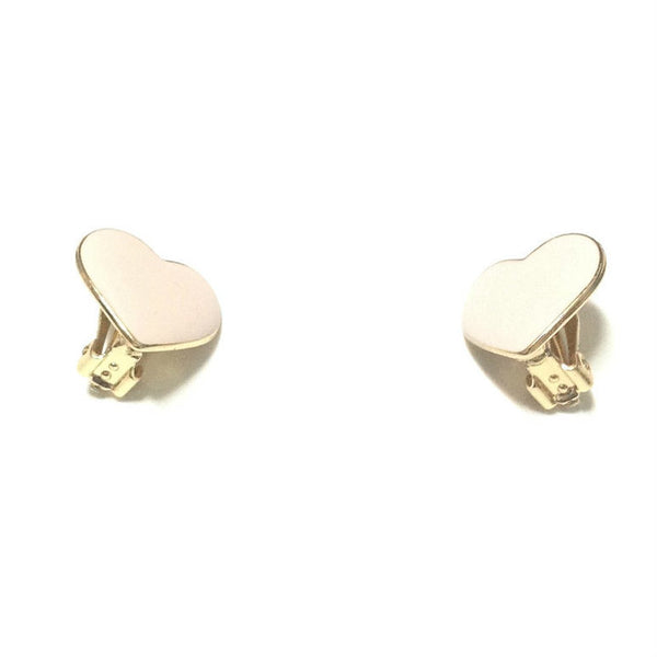 Heart Clip On Earrings in Light Pink