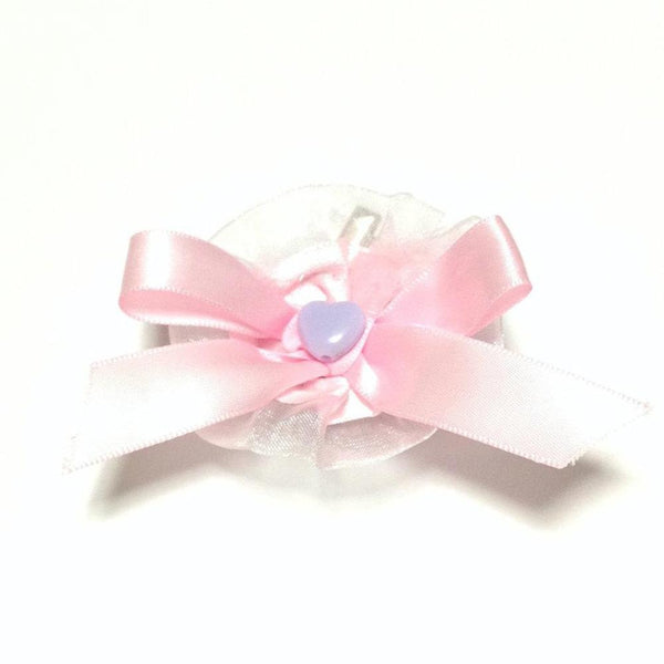 Heart Ribbon Frill Pin/Clip Rosette in Pink x Lavender from Pastel Skies