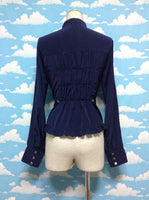 High Collar Frill Blouse with Ribbon Brooch (De chine) in Navy from Metamorphose Temps de Fille
