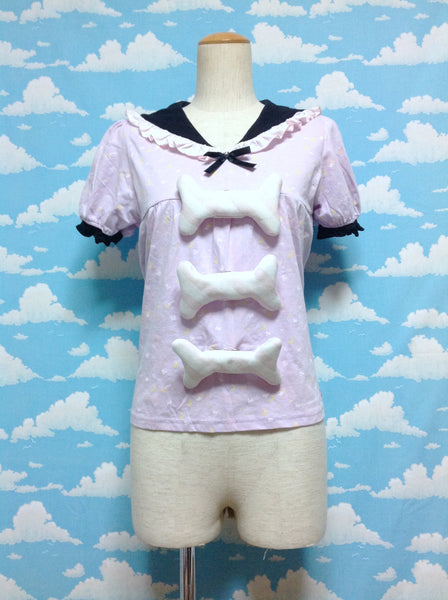 "T-shirt and ""Honenuki"" Headband in Lavender from Milklim in Collaboration with Kimura Yu"