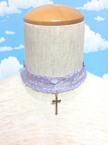 Embroidery Frill Satin Choker (I wanna be your lolita) in Lavender from Chocomint