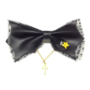 Party Clip Ribbon (Bat Wings) Barrette in Black from SWIMMER