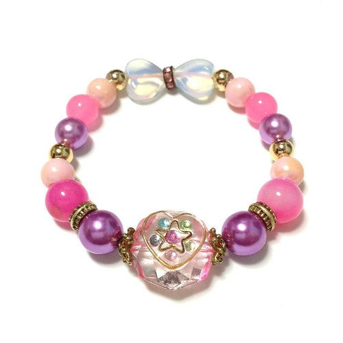 Magical Star Heart Gem Bracelet in Pink from Mello
