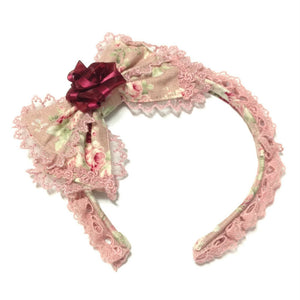 Rose Last Note Head Bow in Pink from Angelic Pretty